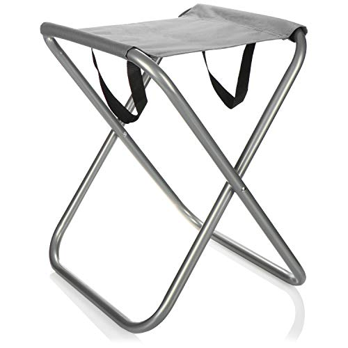 com-four® Campinghocker faltbar - Tragbarer Klapphocker - Klappstuhl klein für Camping, Angeln, Picknick, Wandern, Strand (grau)