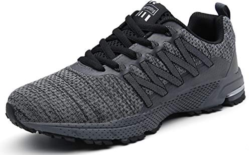 SOLLOMENSI Laufschuhe Damen Herren Sportschuhe Straßenlaufschuhe Sneaker Joggingschuhe Turnschuhe Walkingschuhe Schuhe 47 EU B Grau
