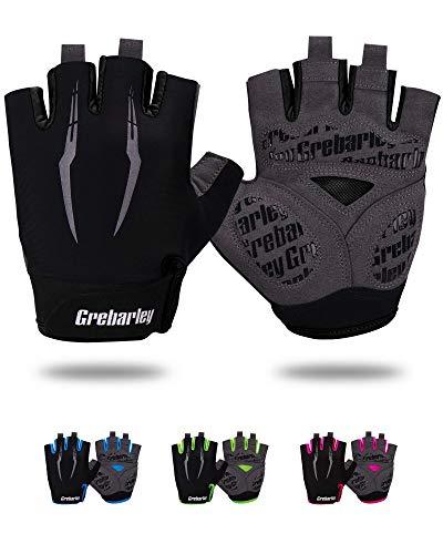 Grebarley Cycling Gloves for Men Women Bike Gloves MTB Gloves Mountain Bike Gloves Anti-slip Shock-absorbing Breathable Half Finger Bicycle Biking Gloves Unisex
