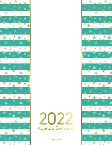2022 Agenda Semanal: con planificador mensual para 2022 2023, cubierta con diseño de rayas verdes y estrellas doradas