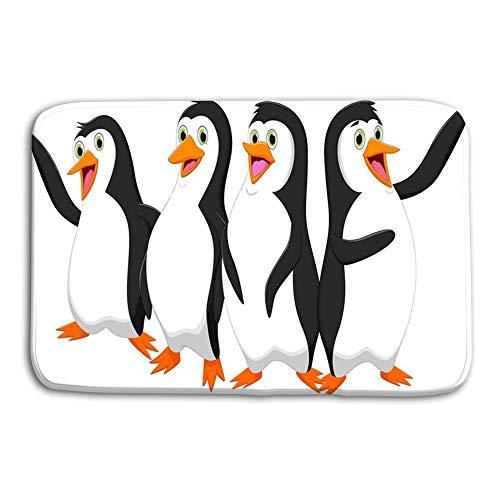 YnimioHOB Felpudo Interior Fuera Cuatro Pingüinos Lindos Dibujos Animados Ilustración Vectorial Aislado