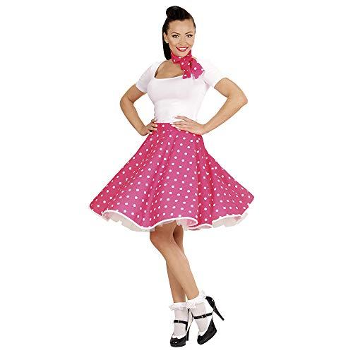 WIDMAN Lunares Falda de 1950 y Bufanda Set Adultas - Disfraz - Rosa - Tamaño 38-40