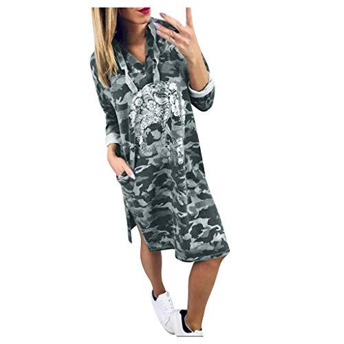 Dames Herfst Jurk, Kingwo Stijlvolle Camouflage Gedrukt Lange Mouw V-hals Hoodie Mid-Lengte Grote Maat Jurk met Zakken
