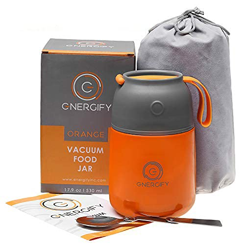 Energify Vacuum Insulated Food Jar - Stainless Steel Food Thermos with Folding Spoon, Soup Bowl, Lunch Container, Soup Thermos cup, Orange