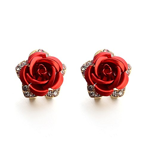 Pendientes De Diamantes De ImitacióN De Flores De Bohemia De JoyeríA De Moda Para Mujeres(Rojo)