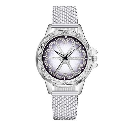 Förderung Damen Classic Quartz Armbanduhr, Frauen Mode Einzigartige Glückliche Blume Strass Uhr mit Edelstahl Damenuhr Analog Ultradünne Uhren Geschenk 2019 LEEDY