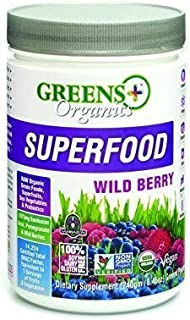 Greens+ Organic Superfood Wild Berry | Non GMO | Gluten Free | USDA Organic | Vegan Greens Powder | 8.46oz
