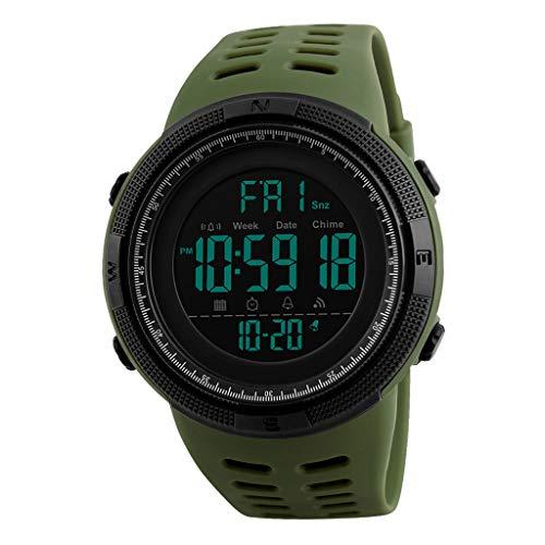 homozy Relógio digital masculino, 50 mters à prova dwaterproof água esportes relógios, relógio de pulso eletrônico mão com contagem regressiva cronômetro - Verde
