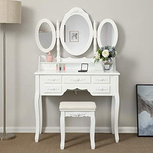Shabby Chic White Dressing Table with 3 Oval Mirror and Stool Bedroom Vanity Dresser Sets,7 Storage Drawers Make Up Desk (White)