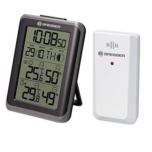Bresser Thermometer Hygrometer MyClimate mit Zeit-/Datumsanzeige, Mondphasen und Weckfunktion zum Hängen oder Aufstellen, Schwarz