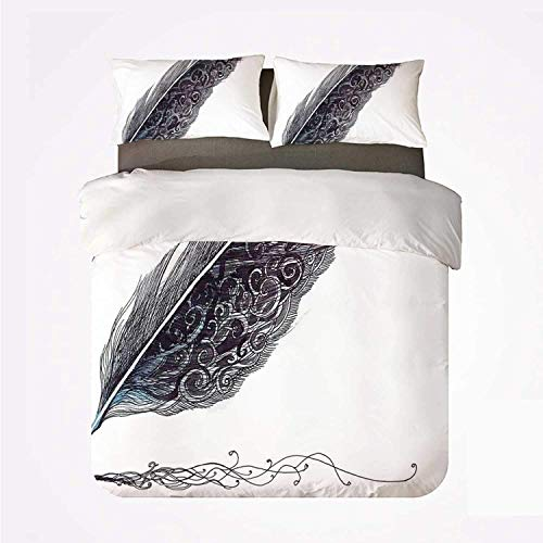 Zozun Duvet Cover Set Feather House Decor Durable 3 Bedding Set,Image of a Dated Classic Quill Pen Feather with Leaf Motifs on One Side for Indoor