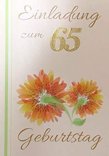 Einladungskarten 65. Geburtstag Frau Mann mit Innentext Motiv orangene Blume 10 Klappkarten DIN A6 im Hochformat mit weißen Umschlägen im Set Geburtstagskarten Einladung 65 Geburtstag Mann Frau K238