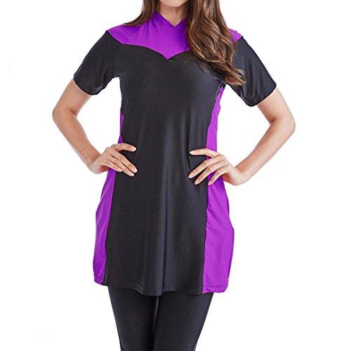 GreatestPAK Badebekleidung Muslimische Damen Frauen Modest Swimwear Islamische Kurzarm Top + Hosen Badeanzug,XXL,Lila