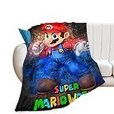 Manta de Franela de Super Mario, Elegante Manta cálida para sofá de Dormitorio y Sala de Estar, Manta con Aire Acondicionado para Hombres y Mujeres 130x150cm