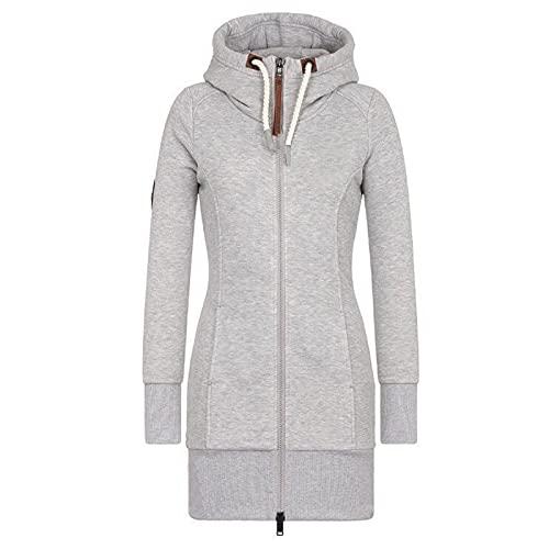 BIBOKAOKE Sudadera de mujer larga con capucha y cremallera, chaqueta de entretiempo de manga larga, cuello alto, estilo informal