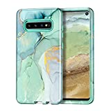 Lamcase Compatible with Galaxy S10 Case, Heavy Duty Full Body Shockproof Hybrid Hard PC Soft TPU Rubber Three Layer Rugged Drop Protection Cover Cases for Samsung Galaxy S10 (2019), Green Marble