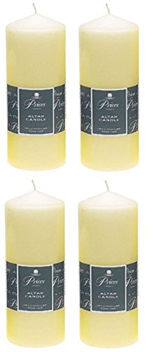 4 x Prices Ivory Altar Candle 200mm X 80mm 100 Hours Burn Time
