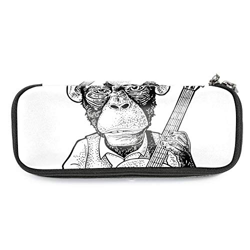 TIZORAX Federmäppchen Affe mit Hut hält Gitarrenkabine Federmäppchen Make-up-Tasche Schüler Schreibwaren Stifthalter für Schule Büro