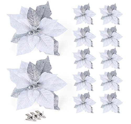 Adorfine 10Pcs Christmas Pendant 23cm Large Poinsettia Glitter Flower With 12 Clips Christmas Tree Floral Ornaments Christmas Wreath Filler for Xmas Wedding Party Decorations (Silver)