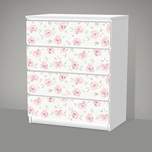 posterdeluxe Aufkleber für IKEA Malm - 4 Schubladen - Shabby Chic Blumenmuster - Sticker Klebefolie Möbel Tattoo
