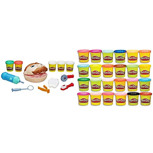 Play-Doh Doctor Drill 'n Fill Set,Multicolor,1 Pack & Modeling Compound 24-Pack Case of Colors, Non-Toxic, Multi-Color, 3-Ounce Cans, Ages 2 and up, Multicolor (Amazon Exclusive)