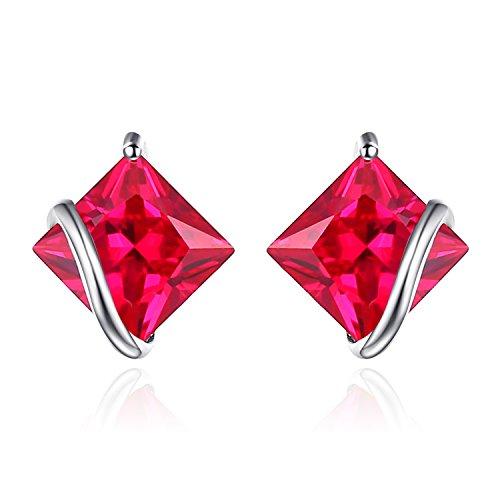 JewelryPalace Pendientes Clásico Cuadrado 2.8ct Rubí rojo creado Aretes Plata de ley 925