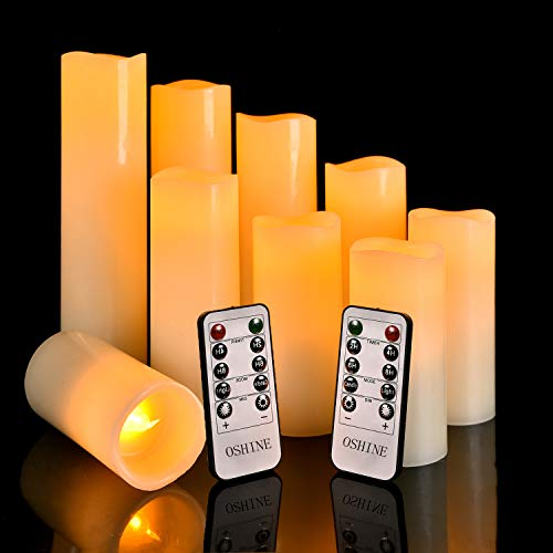 LED Candles, OSHINE Flameless Candles (H 4'5' 6'7' 8'9') Set of 9 Real Wax Pillar Flickering Battery Candles With10-key Remote Control Timer 300 Hours(Not Included Batteries)