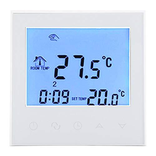 Fdit Smart WiFi Heizkessel mit Gas, programmierbares LCD-Display Digital Temperaturregler Wirless 200-240 V Touch Screen Thermostat Temperatur Controller Temperatur weiß