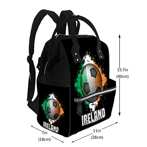 Water-Resistant Baby Bags Soccer Ball Ireland Flag Large Capacity Muti-Function