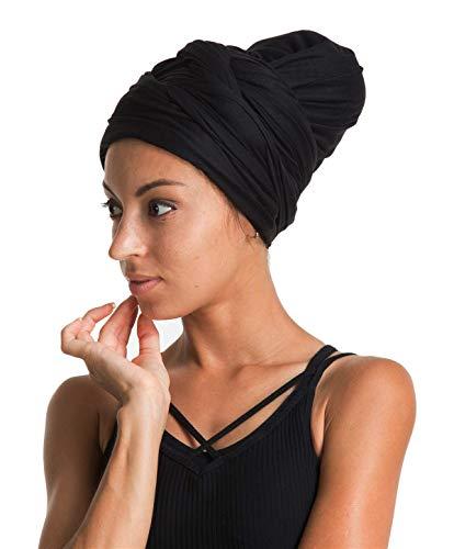 Turban Hat Headband Head Wrap - Black Magic Jersey Turbans HeadWrap Chemo Cap Tube Scarf Tie Hijab For Hair Muslim bohemian boho Black African Women