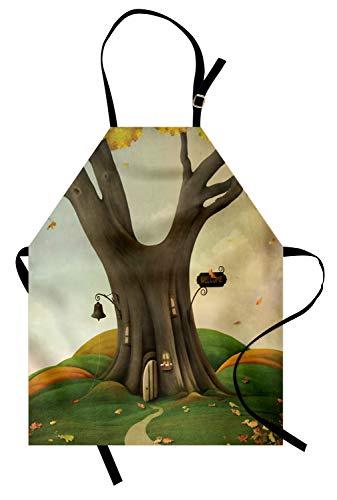 ABAKUHAUS Baum Kochschürze, Fantastisches Art-gemütliches Baum-Stamm-Haus mit defoliated Autumn Leaves Piles, Farbfest Höhenverstellbar Waschbar Klarer Digitaldruck, Lindgrün und Sepia
