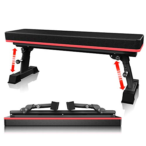 YouTen 2020 New Version Adjustable Bench for Body Workout Fitness, 5Positions Flat Bench, Abs Exercise Weight Bench with Steel Frame Black