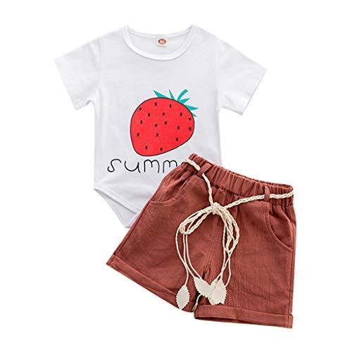 JERFER Kleinkind Kinder Baby Mädchen Erdbeere Brief Drucken Tops + Kurze Hose Outfits einstellen Kleider