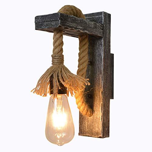 ER-JI Lámpara de Pared de Estilo Industrial Retro, Personalidad Creativa lámparas de Madera Maciza
