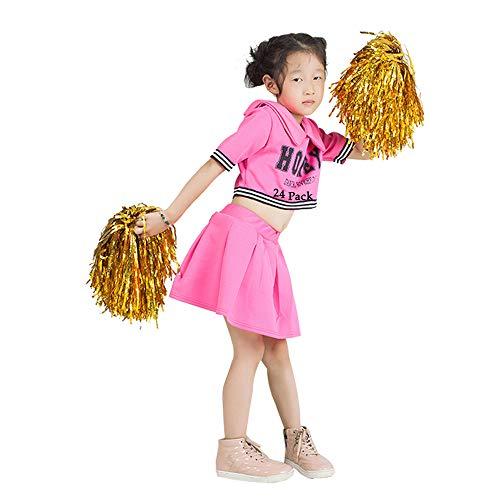RETON 24 Stück Cheerleader Pompons, Metallische Cheerleading Ponpons, Pom Poms Puscheln Pompös Pimpoms für Kinder Cheer Sport, Spiele, Partys, Feiern, Aufführungen (Gold)