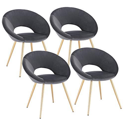 WOLTU 4 x Esszimmerstühle 4er Set Esszimmerstuhl Küchenstuhl Polsterstuhl Design Stuhl, mit Sitzfläche aus Samt, Gestell aus Metall, Dunkelgrau, BH230dgr-4