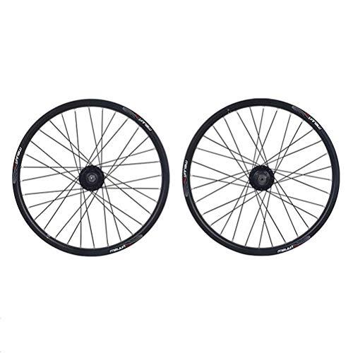 TYXTYX Juego de Ruedas de Bicicleta Llanta de aleación de Doble Pared de 20 Pulgadas Freno de Disco Rodamiento Sellado QR 8/9/10 Buje de Tarjeta de Velocidad para Bicicleta Plegable BMX 32H (Color: