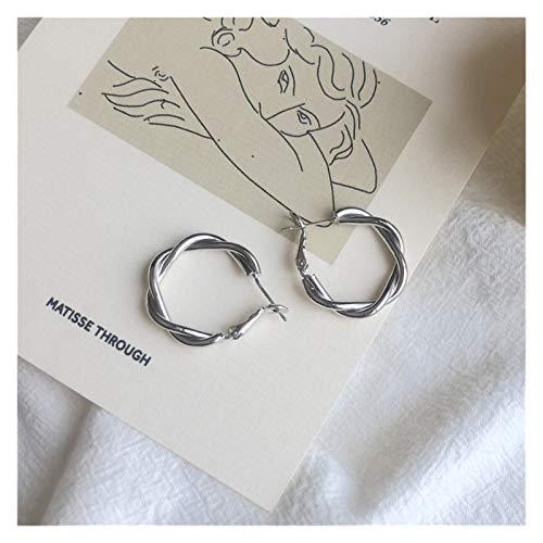MURUI EH S925 aguja de plata temperamento coreano simple torcedura de las uñas costillas pequeñas mujeres personalidad salvajes pendientes yc613 (color: plata)