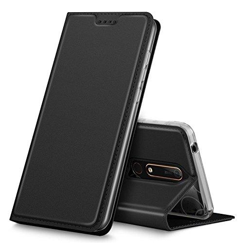 Verco Handyhülle für Nokia 6.1, Premium Handy Flip Cover für Nokia 6.1 Hülle [integr. Magnet] Book Case PU Leder Tasche [Nokia 6 2018], Schwarz