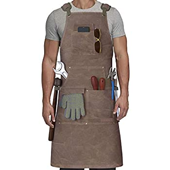 Shop Apron - Woodworking Apron for Men with Tool Pockets - BBQ Apron - Cross Back Work Apron for Metalwork Lathe Work BBQ Gardening Workshop - 16 oz Durable Waxed Canvas Apron for Men - Plus Size Apron Adjustable Up to XXL