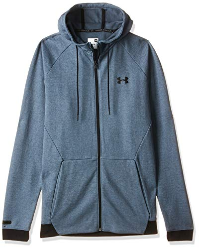 Under Armour Herren Unstoppable 2X Knit Fz atmungsaktiver Cardigan mit durchgehendem Zip, komfortable Sweatjacke mit enganliegender Passform, Grau (Wire / / Black (073), X-Large