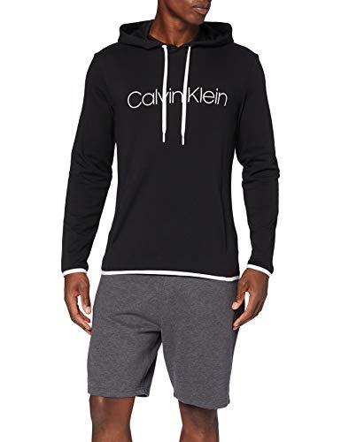 Calvin Klein Herren L/s Hoodie Schlafanzugoberteil, Schwarz (Black 001), Medium