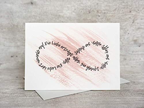 Liebe hört niemals auf | Letterpress Karte | Hochzeit, Liebe, Bibel, Hochzeitsspruch, Verlobung