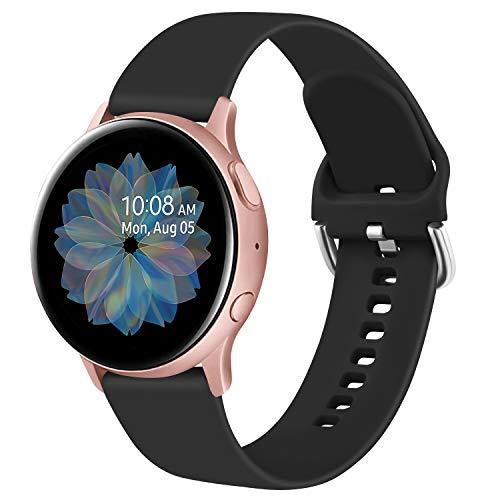 Yandu 20mm Cinturino Compatibile per Samsung Galaxy Watch Active 2 40mm/44mm, Cinturini Sportiva in Silicone per Samsung Galaxy Watch 42mm/ Watch 3 41mm/ Gear Sport (S, Nero)