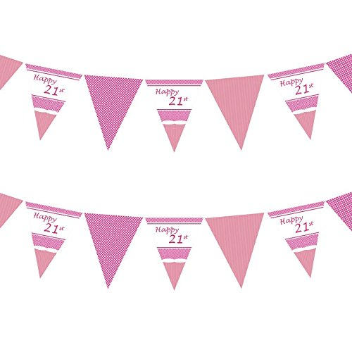 Good Deals Online Wimpelkette, Aufschrift 21st Perfectly Pink Girls Classy Happy Birthday, Anniversary, Special Occasion, Party-Dekoration, Wimpelkette, einseitig – 3,6 m (60.)