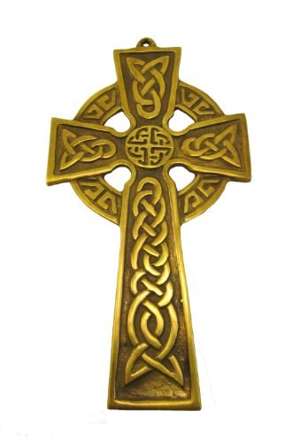 Biddy Murphy Celtic Cross Wall Hanging Brass 3 ½ Inches x 6 ½ Inches Irish Décor