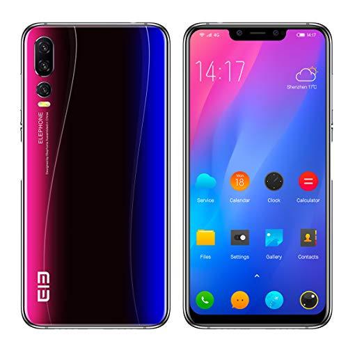 ELEPHONE A5 Smartphone Libre - 6.18''FHD + súper-Vista Pantalla Ultra Delgada, teléfono móvil con Android 8.1, Helio P60 6GB + 128GB, AI 5 cámara (cámara Frontal de 20MP + 2MP) - Azul Estrellado