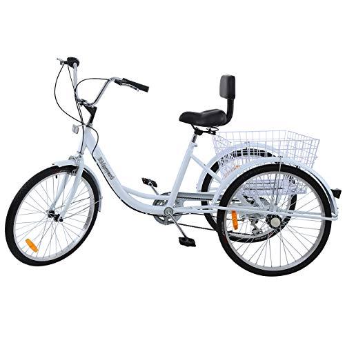 MuGuang 24Zoll 7 Geschwindigkeit 3 Rad Erwachsenen Dreirad Fahrrad Pedal Dreirad Trike Fahrrad mit Shopping Korb (Weiß)