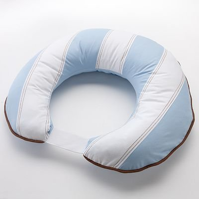 Bacati - Metro Blue/White/Chocolate Nursing Pillow Insert with Removable Zippered Cover Included