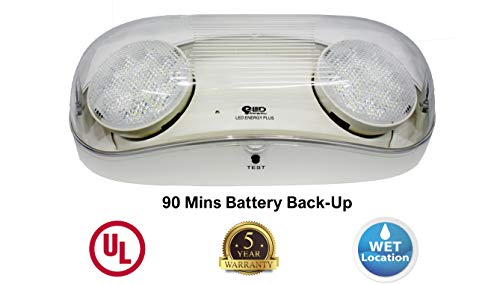 Outdoor Rated Ultra-Bright White LED Emergency Light(Bug Eyes) with Battery Backup, Wet Location Listed, 90-Minute Minimum Capacity, UL Certified, 5 Years Warranty